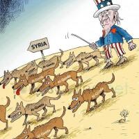 Caricatura macabra e ilustrativa: los perros carniceros de Al Qaeda, creados por Estados Unidos, ahora contra Siria para desatar una guerra civil y una final invasión militar.