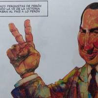 """Genral Perón cuando Maradona usó para nosotros """"la mano de Dios"""". Por El TOMI, uno de loas más grandes artistas y dibujantes argentinos."""