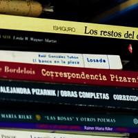 Libros en una biblioteca  de AMILCAR MORETTI.