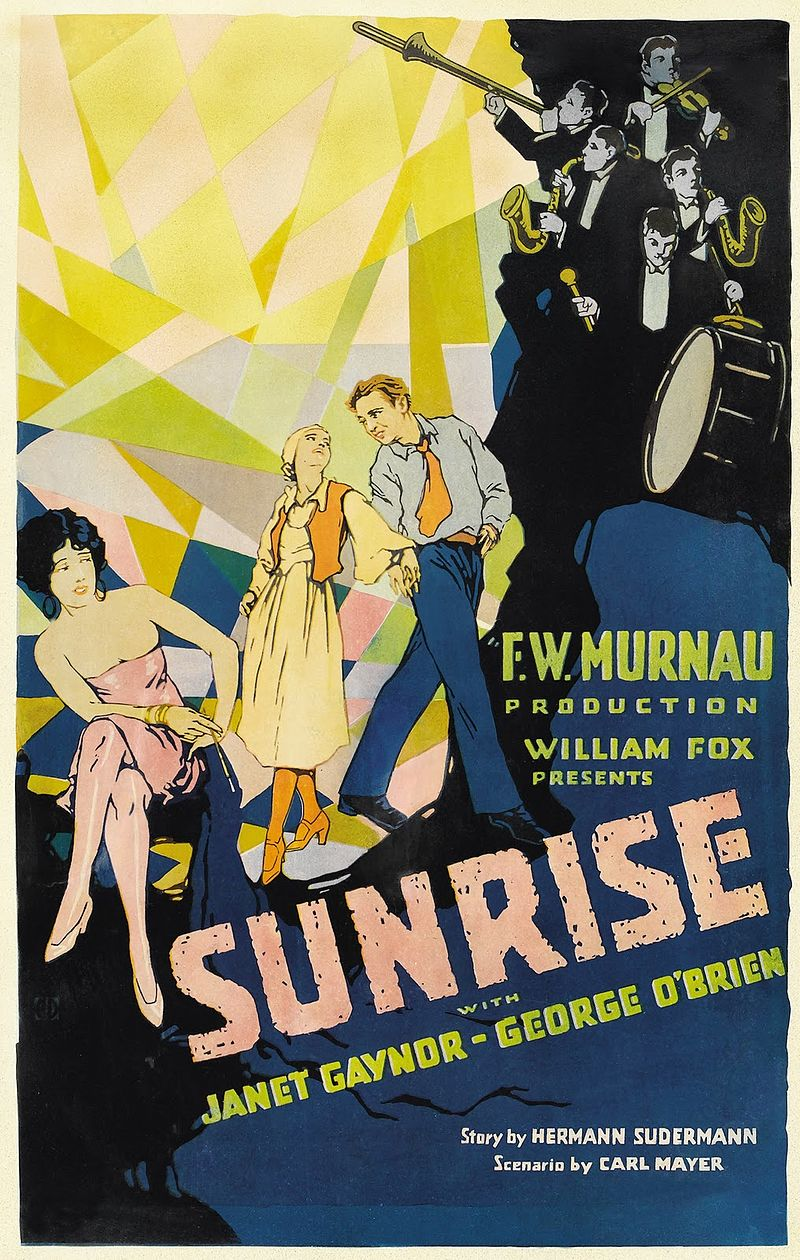 "Consignado por Locandina per il film di Friedrich Wilhelm Murnau ""Aurora"" 1927. https://es.wikipedia.org/wiki/Amanecer_(pel%C3%ADcula)#/media/File:Sunrise_-_A_Song_of_Two_Humans.jpg"