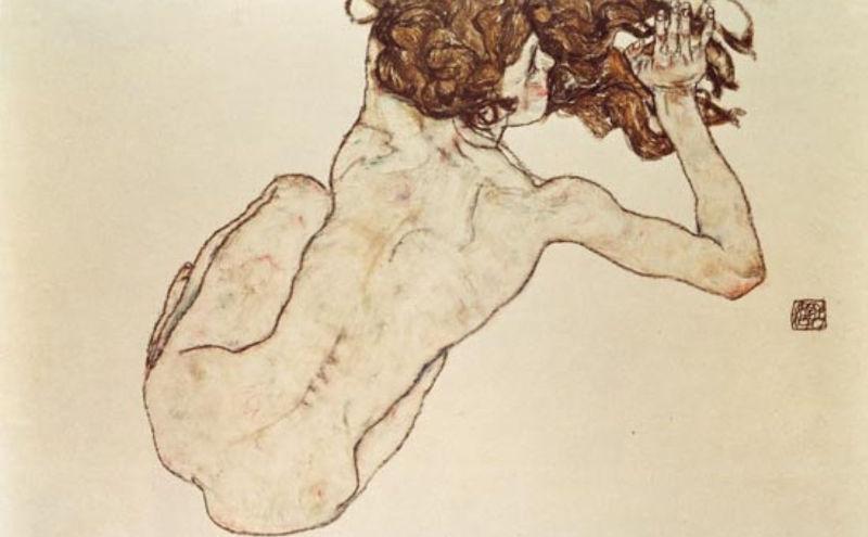 Egon Schiele. Nu de dos accroupi
