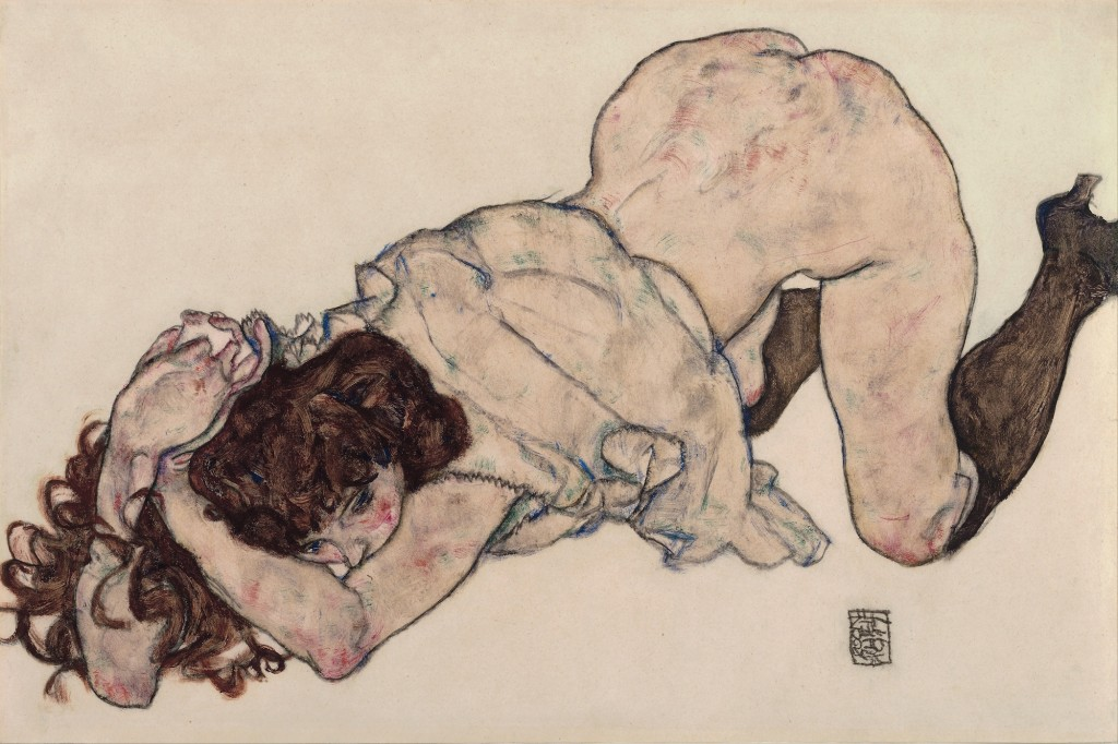 Egon Schiele Kneeling Girl Resting on Both Elbows. GOOGLE ART PROJECT
