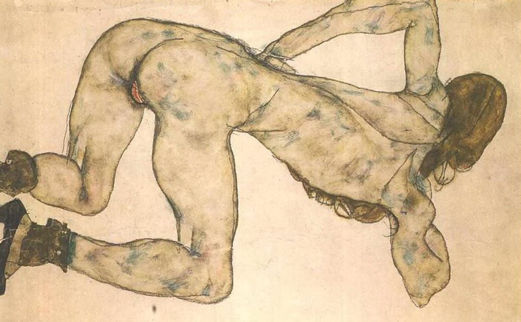 EGON SCHIELE. BENDED FEMALE NUDE.