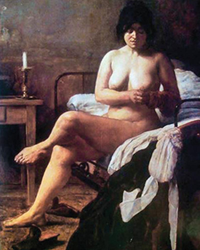 """""""El despertar de la criada"""" (1887), pintura de EDUARDOSÍVORI (1847-1918). Museo Nacional de Bellas Artes, Argentina."""