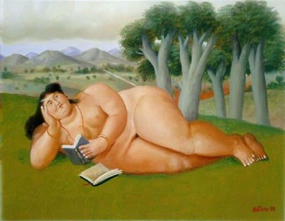 """La lectora (""""MUJER LEYENDO""""), de Fernando Botero."""