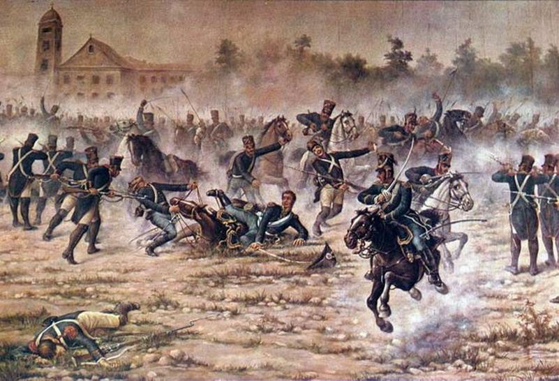 """ANGEL DELLA VALLE, """"Carga de Granaderos"""" en el combate de San Lorenzo. Angel Della Valle (1852-1903), es uno de los más destacados creadores argentinos que consolidaron el arte nacional. Pertenecía a la Generación del 80. MUSEO HISTÓRICO NACIONAL."""