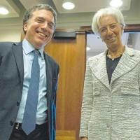 MINISTRO DE HACIENDA ARGENTINO DUJOVNE Y DIRECTORA DEL FMI LAGARDE, 2018.
