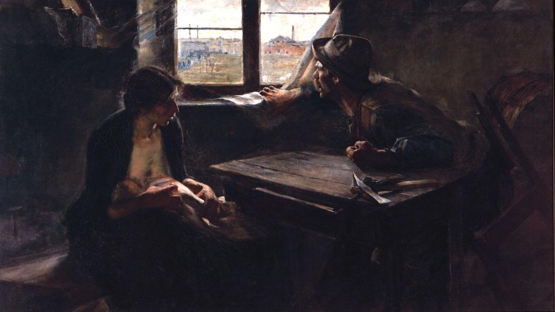 """""""SIN PAN Y SIN TRABAJO"""" (1894), de ERNESTO DE LA CÁRCOVA, FIGURA SEÑERA DEL ARTE ARGENTINO."""