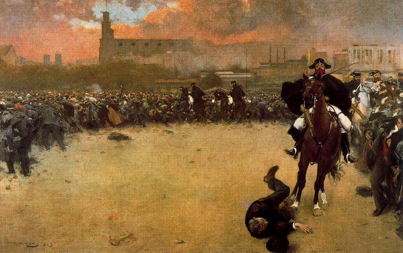 """""""CARGA DE LA GUARDIA CIVIL"""" (   del CONOCIDO PINTOR MODERNISTA ESPAÑOL RAMÓN CASAS CARBÓ.En 1903 presentó """"La carga"""" que posteriormente renombró como """"Barcelona 1902"""", en él cuadro representaba una huelga general ocurrida en Barcelona en ese tiempo. La obra en la que muestra a un Guardia Civil cargando contra la multitud, había sido pintada dos años antes de la huelga. En 1904, esa misma pintura ganó el primer premio en la Exposición General de Madrid."""