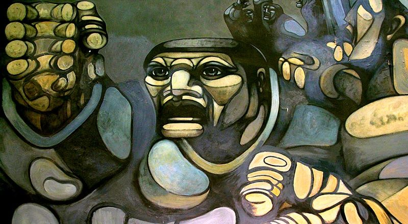 """""""1º DE MAYO"""" (1961), DEL PINTOR ARGENTINO RICARDO CARPANI. CARPANI TUVO MUCHA DIFUSIÓN EN SU MOMENTO, LA GENERACIÓN DEL 60 Y PARTE DE LA DEL 50 POR SER UN ARTISTA REPRESENTATIVO DE LA CUESTIÓN OBRERA REVOLUCIONARIA Y DE LA CGT (CONFEDERACIÓN ARGENTINA DEL TRABAJO, LA PRINCIPAL CENTRAL OBRERA DE LA ARGENTINA)."""