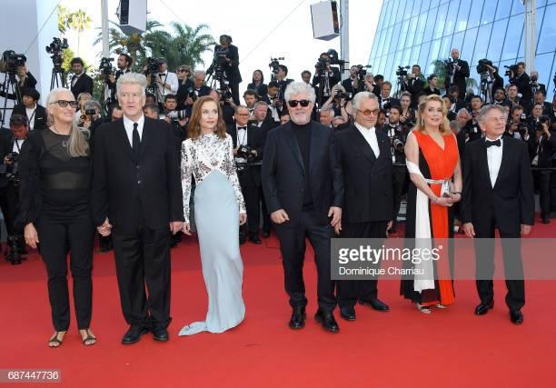 Imbatibles en Cannes, con Polansky el año pasado: Jane Campion, David Lynch, Isabelle Huppert, Pedro Almodovar, George Miller, Catherine Deneuve.