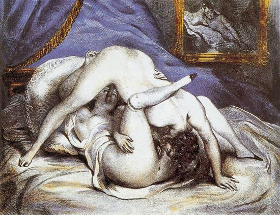 hISTORIA DEL 69. Litografía de la novela 'Gamiani', de Alfred du Musset