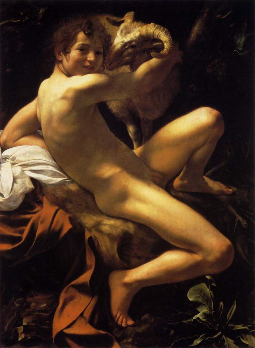 """CARAVAGGIO. Fotografía del original de su pintura """"AAN JUAN BAUTISTA JOVEN CON CARNERO"""". Italia, siglo XVI."""