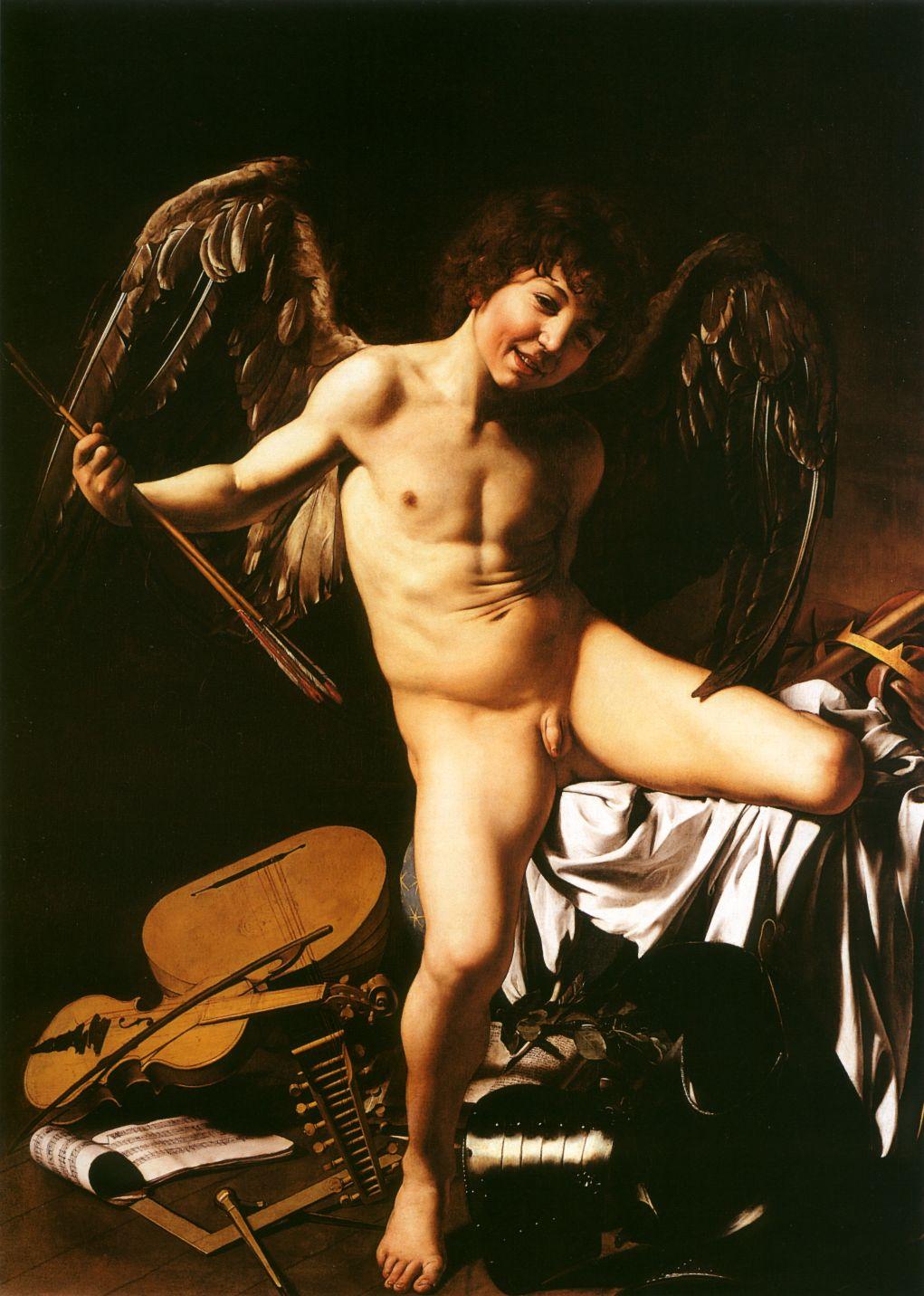 """CARAVAGGIO (foto del original). """"El Amor"""", Italia, fines del siglo 16."""