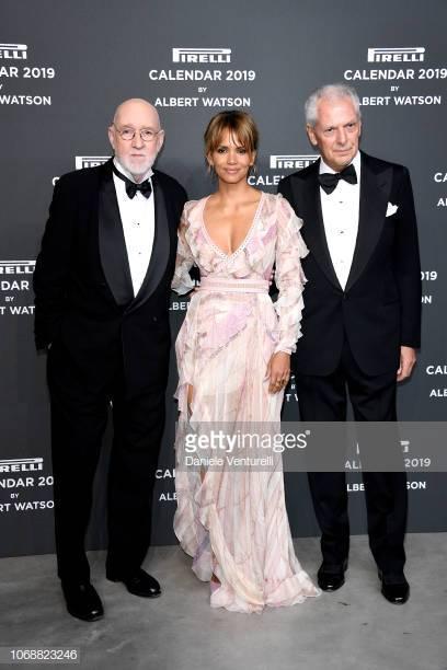 ALBERT WATSON (isq.) con Halle Berry y Marco Tronchetti, hace poco, durante la presentación del célebre. calificado y selectivo Calendario PIRELLI del 2019.