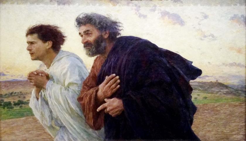 """8. """"Los discípulos Pedro y Juan corren al sepulcro en la mañana de resurrección"""" (1898) de Eugène Burnand, (1850-1921), en el Musée d'Orsay, París, Francia."""