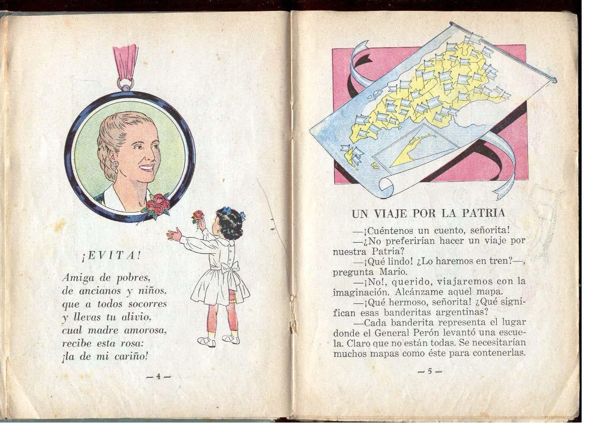 """""""CAJITA DE MÚSICA"""", libro de lectura de la escuela primaria durante la década del gobierno peronista (1946-1955). Ilustrado por el pintor boliviano VÍCTOR VALDIVIA."""