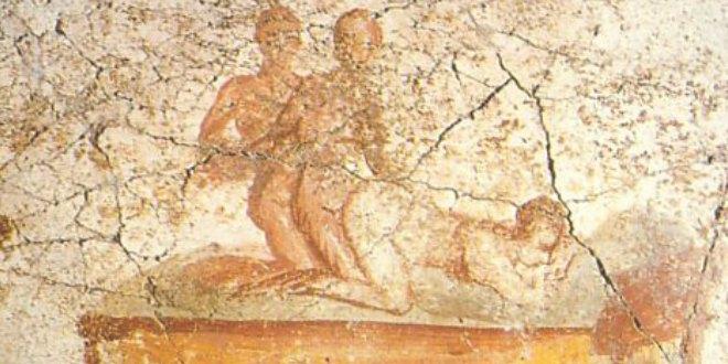 Trío en la forma descrita por Catulo en el poema 56. Fresco de Pompeya. (Según diario LA VANGUARDIA, de España)